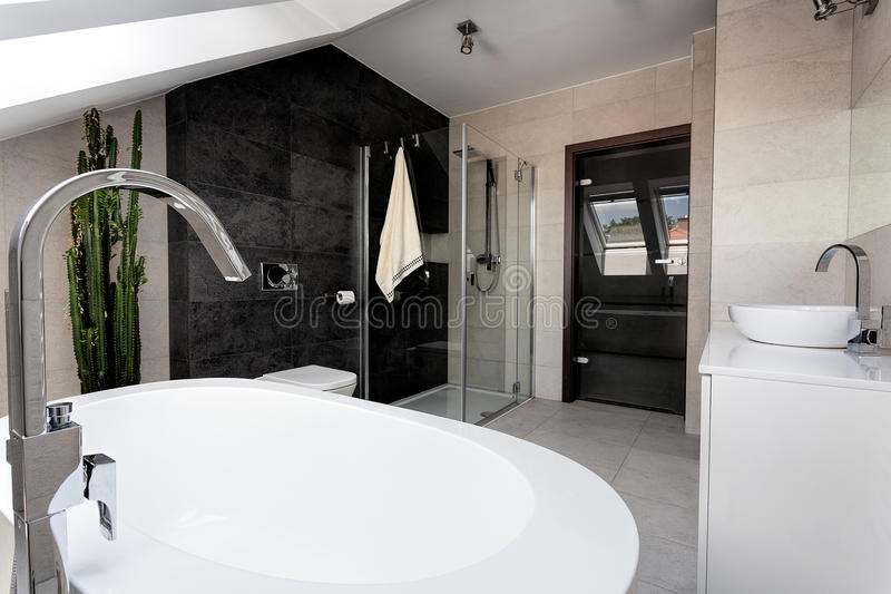 Stedelijke flat - badkamersbinnenland stock afbeeldingen