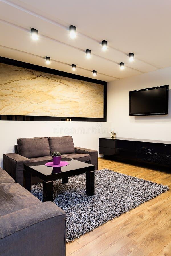 Stedelijke flat - bank in woonkamer stock afbeeldingen