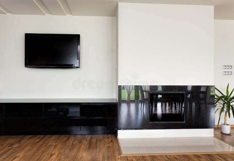Stedelijke flat - moderne open haard stock afbeeldingen
