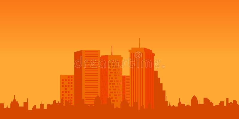 Stedelijke gebouwen bij zonsondergang vector illustratie