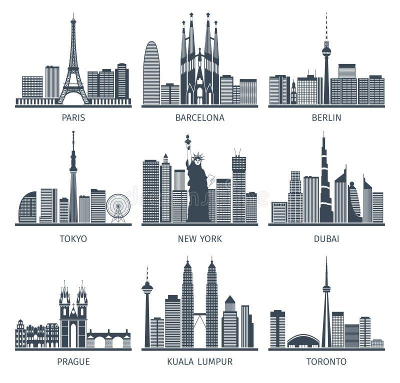 Stedelijke Geplaatste Horizonnenpictogrammen vector illustratie