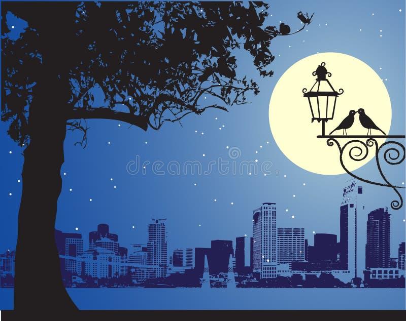 Stedelijke idyllische nachtscène, royalty-vrije illustratie