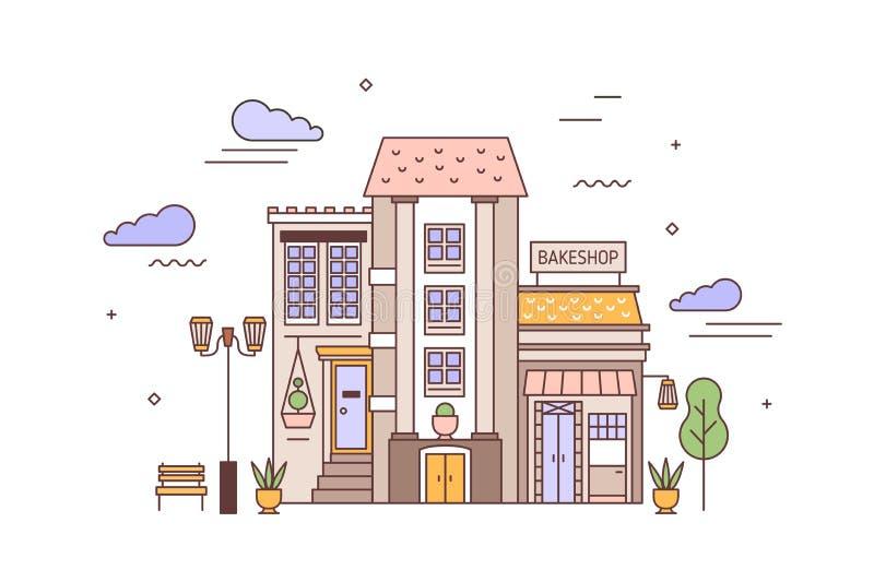 Stedelijke landschap of cityscape met voorgevels van het leven de bouw en bakkerij Straatmening van stadsdistrict met elegant hui royalty-vrije illustratie