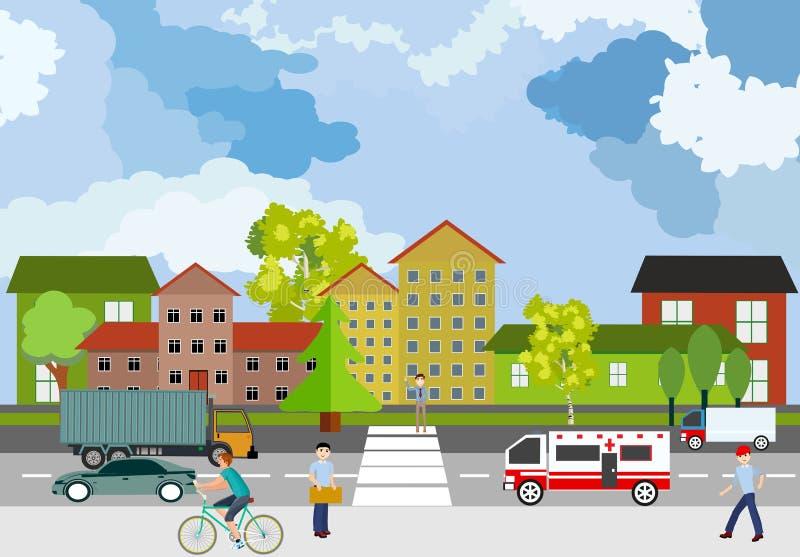 Stedelijke landschap, cityscape, stadsstraat, auto's en mensen, concept stock illustratie