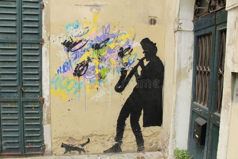 Stedelijke muurgraffiti stock foto's