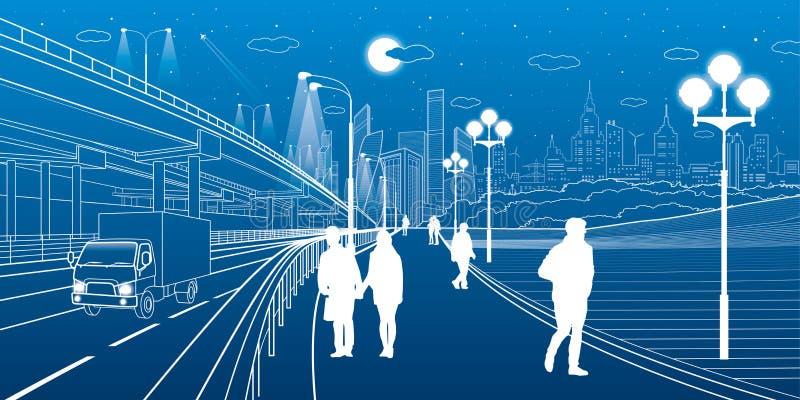Stedelijke Scène Autouitwisseling De mensen lopen langs de stoep Moderne nachtstad op achtergrond Vectorontwerpart. vector illustratie
