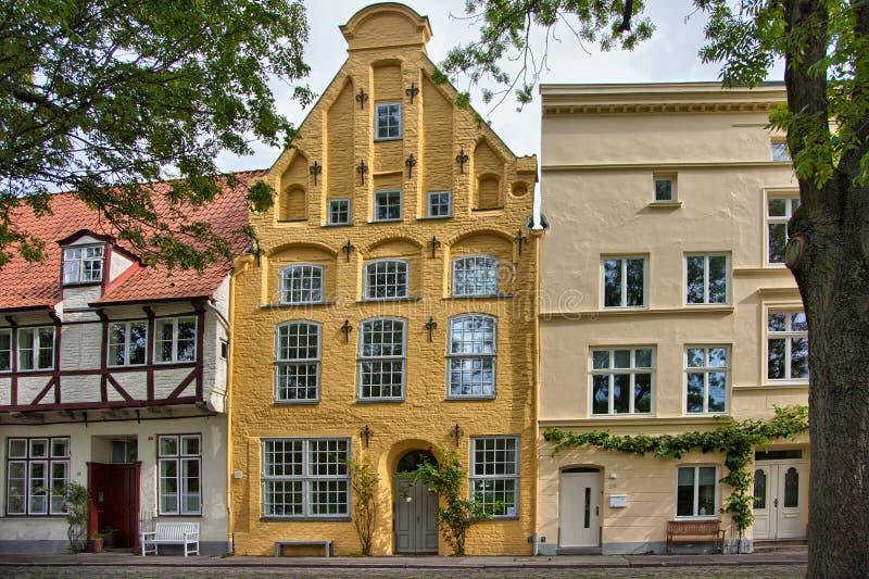 Stedelijke scène in de historische oude stad van Lübeck, Duitsland stock foto