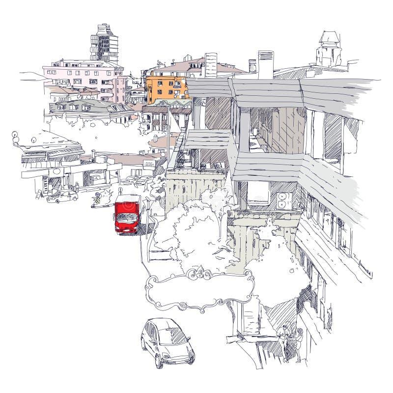 Stedelijke schets van Mecidiyekoy-district van Istanboel stock illustratie