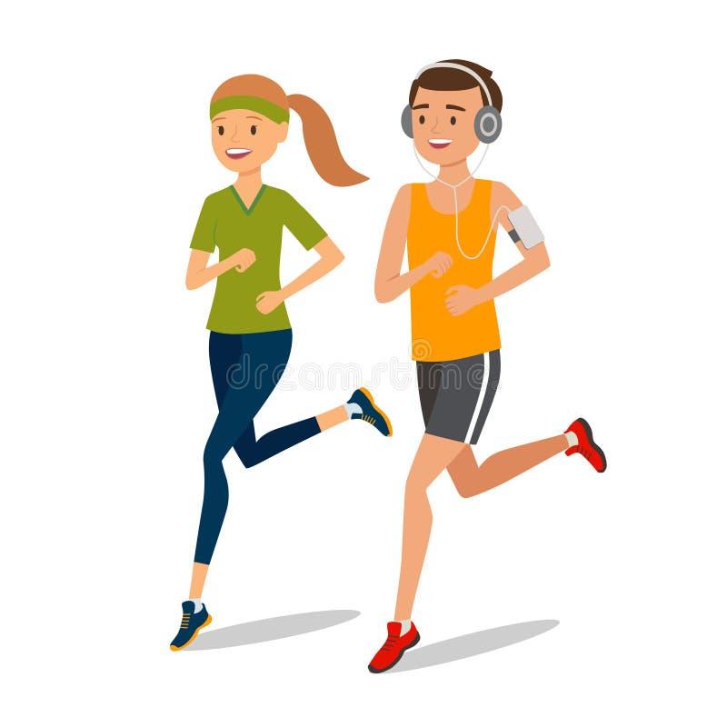 Stedelijke sporten Paar die of voor geschiktheid lopen aanstoten stock illustratie