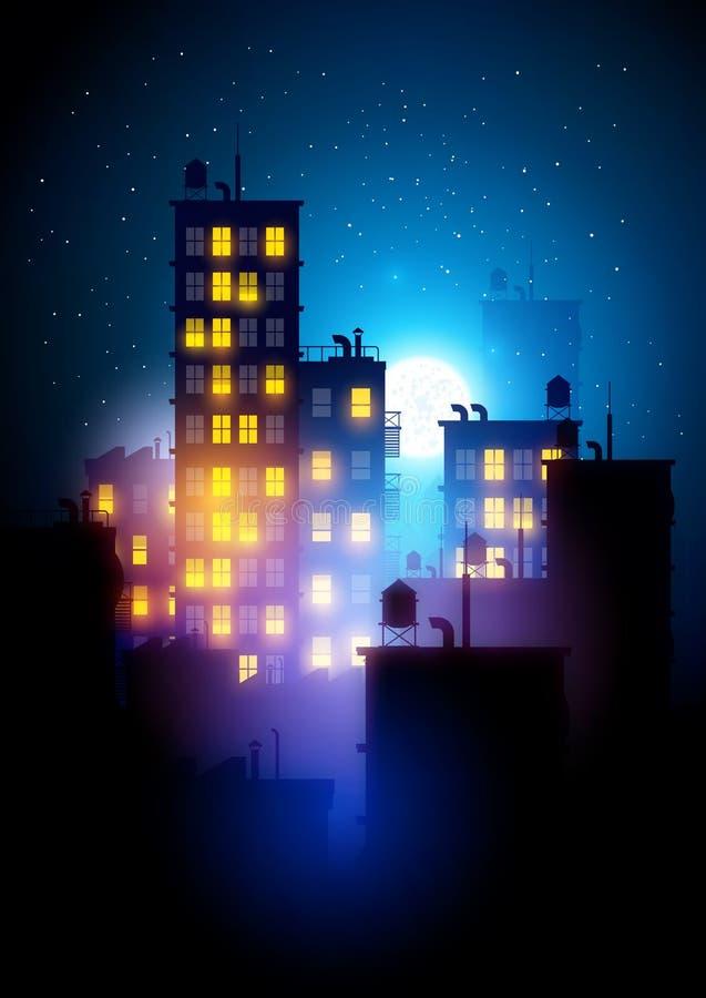 Stedelijke stad bij nacht vector illustratie