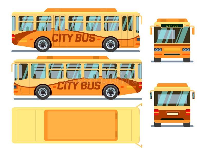 Stedelijke, stadsbus in verschillende meningsposities Vector illustratie vector illustratie