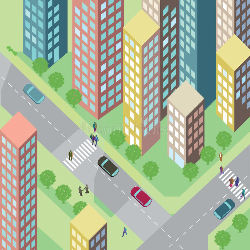 Stedelijke straat met huizen royalty-vrije illustratie