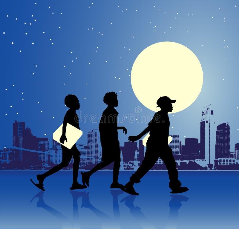 Stedelijke tienerjaren, nachtscène vector illustratie