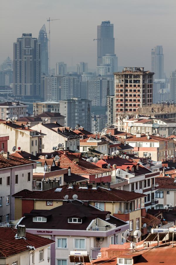 Stedelijke Transformatie en Moderne Flatgebouwen stock afbeeldingen