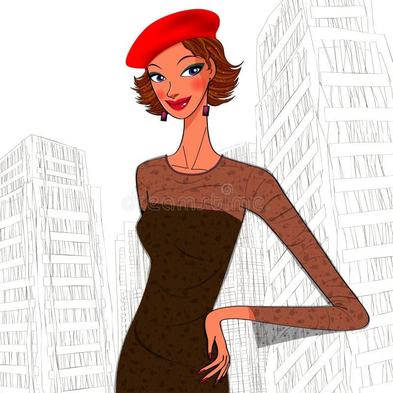 Stedelijke vrouwen in een baret vector illustratie