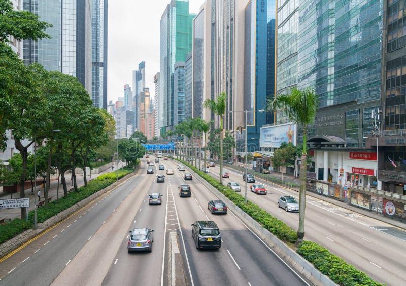 Stedelijke Wegscène in Hong Kong stock foto