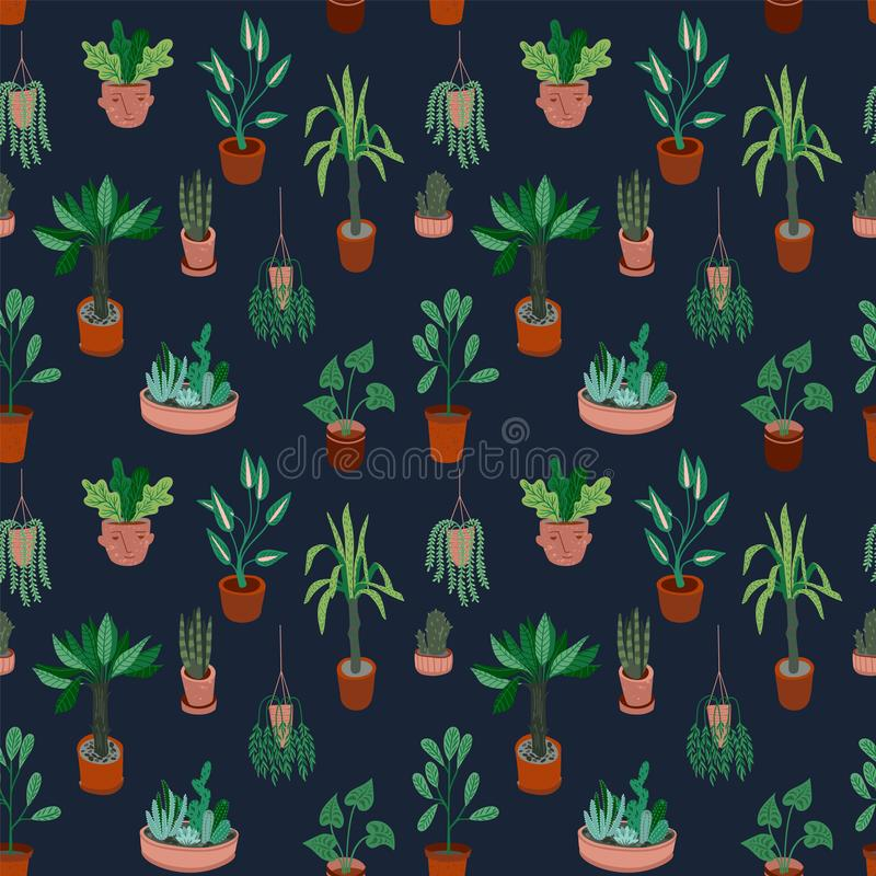 Stedelijke wildernis Vector naadloos patroon met in huisdecor royalty-vrije illustratie