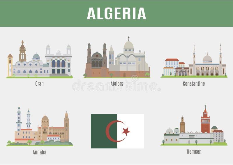 Steden in Algerije stock illustratie