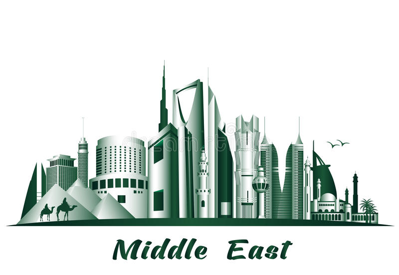 Steden en Beroemde Gebouwen in Midden-Oosten vector illustratie