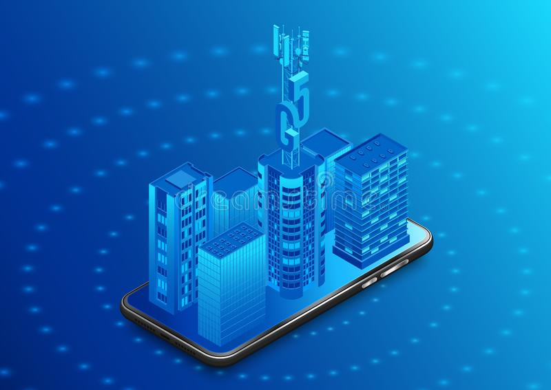 Steden uitrusten met 5g-technologie Smartphone met antenne op het dak van een wolkenkrabber stock illustratie