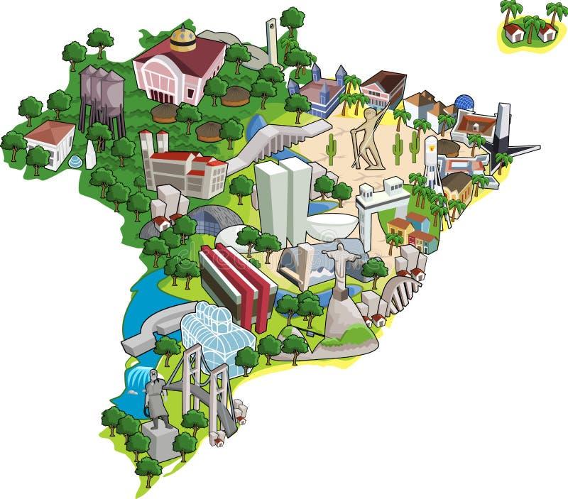 Steden van Brazilië. royalty-vrije illustratie