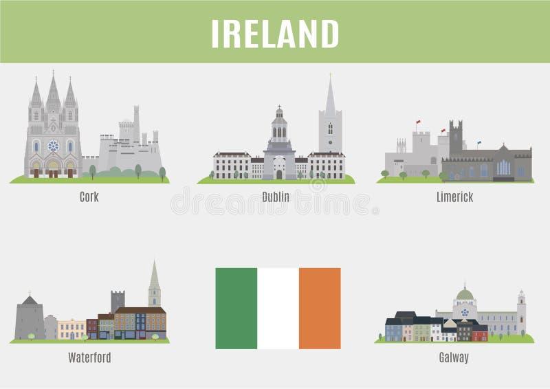 Steden van Ierland vector illustratie