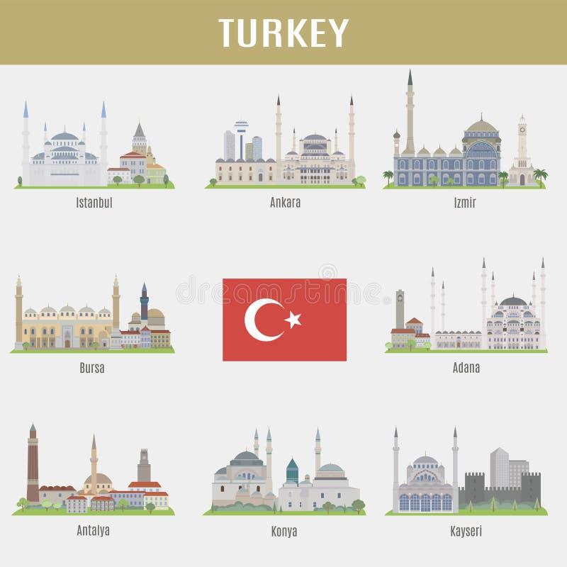 Steden van Turkije royalty-vrije illustratie