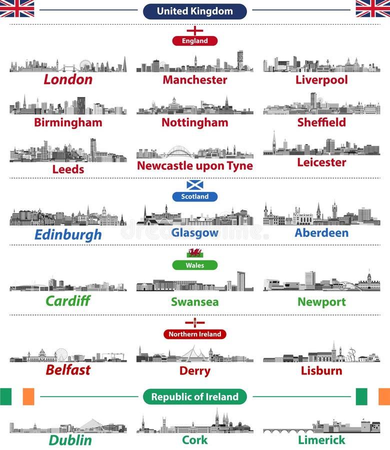 Stedenhorizonnen van Britse Eilandenlanden: Het Verenigd Koninkrijk Engeland, Wales, Schotland, Noord-Ierland en Republiek Ierlan vector illustratie