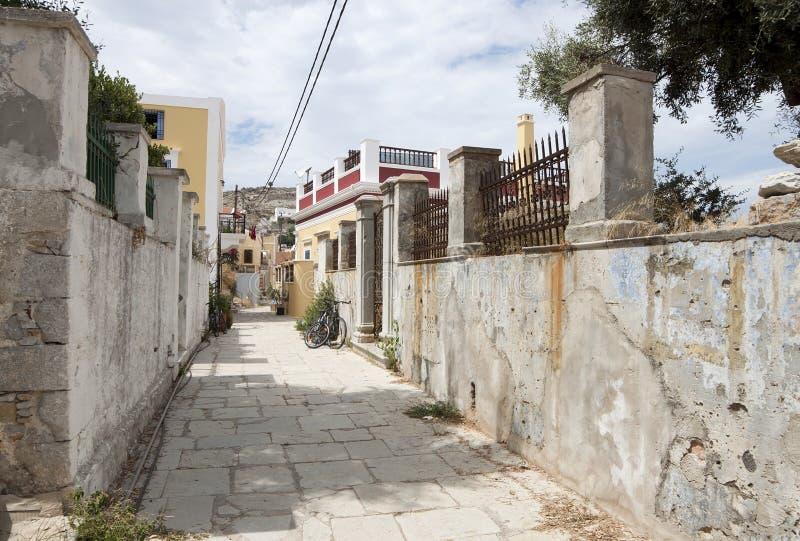 Steeg in Symi-eiland royalty-vrije stock foto's