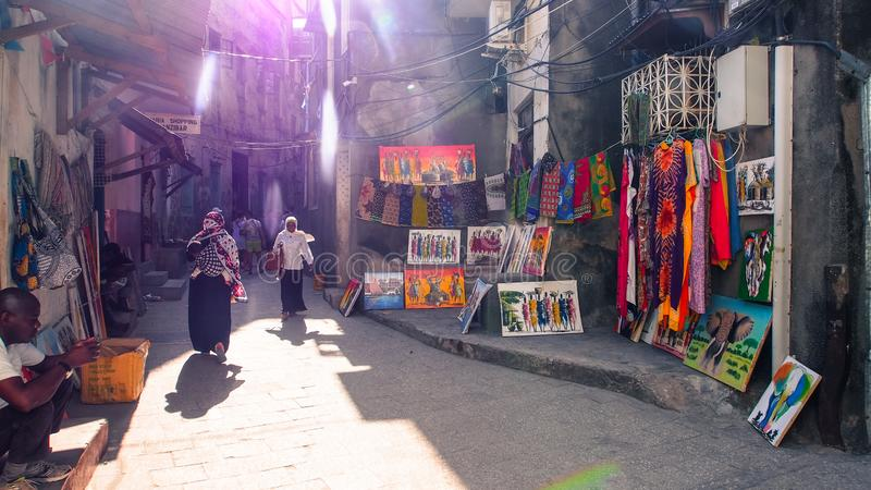 Steegstraat van Stonetown, Zanzibar stock foto
