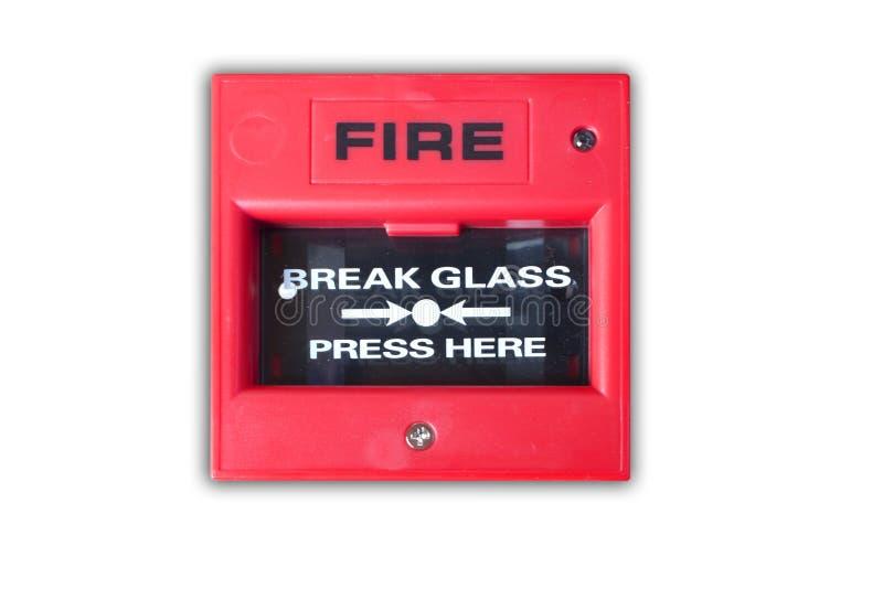 Steek onderbrekingsglas in brand stock afbeelding