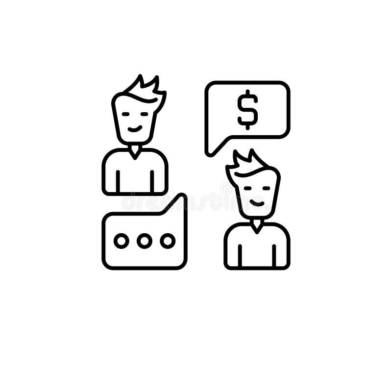 Steekpenning, bespreking, mensenpictogram Element van corruptiepictogram Dun lijnpictogram voor websiteontwerp en ontwikkeling, a royalty-vrije illustratie