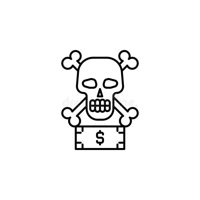 Steekpenning, corruptie, schedelpictogram Element van corruptiepictogram Dun lijnpictogram voor websiteontwerp en ontwikkeling, a vector illustratie