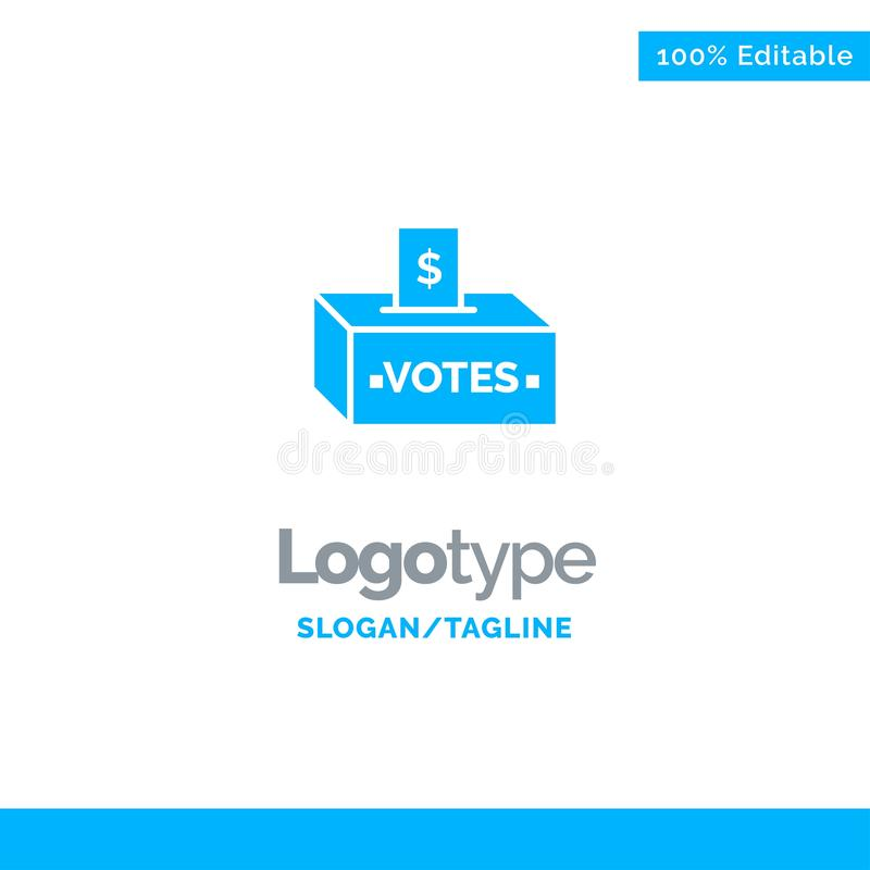 Steekpenning, Corruptie, Verkiezing, Invloed, Geld Blauw Stevig Logo Template Plaats voor Tagline stock illustratie