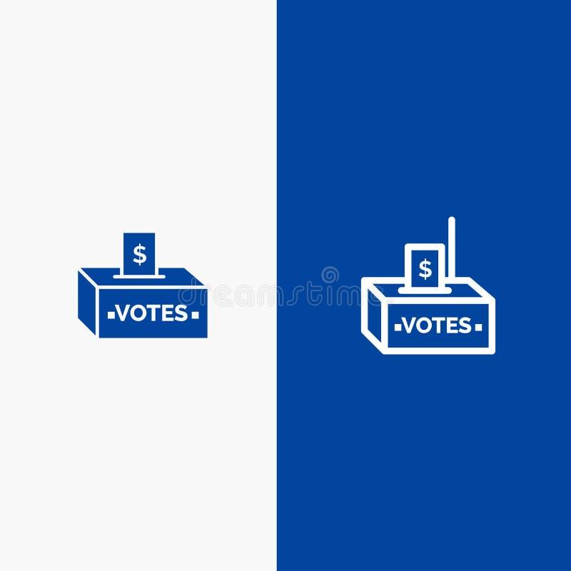 Steekpenning, Corruptie, Verkiezing, Invloed, Geldlijn en Lijn van de het pictogram Blauwe banner van Glyph de Stevige en Stevige stock illustratie