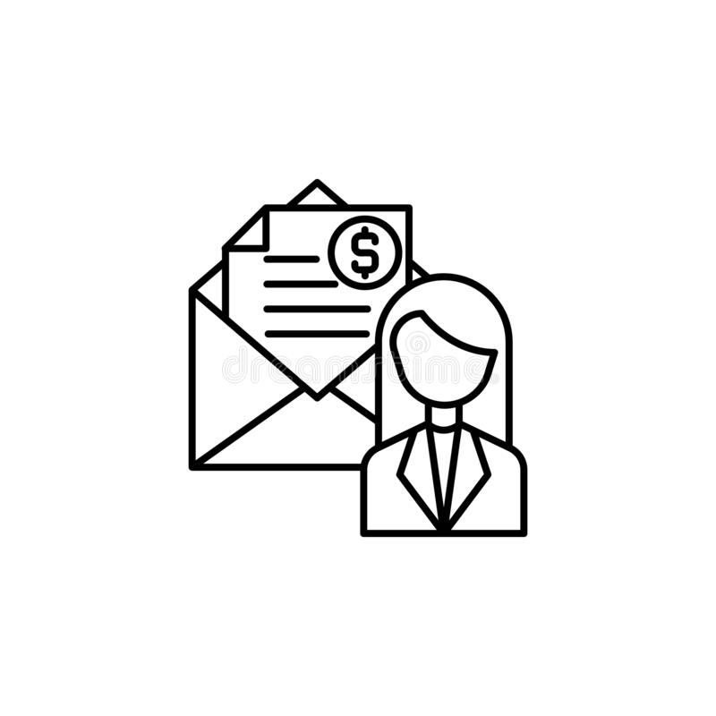 Steekpenning, corruptie, vrouwenpictogram Element van corruptiepictogram Dun lijnpictogram voor websiteontwerp en ontwikkeling, a stock illustratie