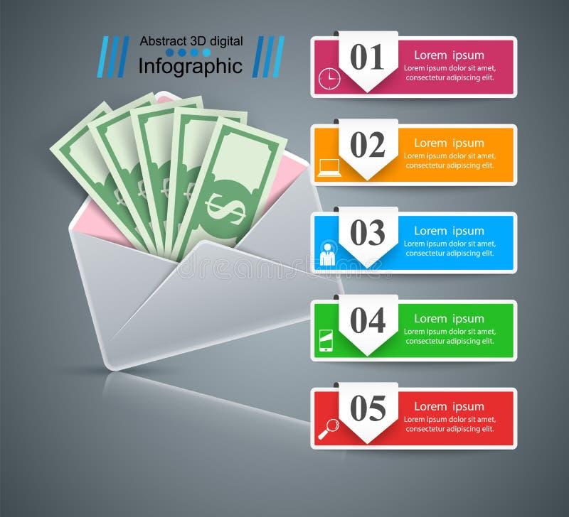Steekpenning, envelop - infographic Geldzaken vector illustratie