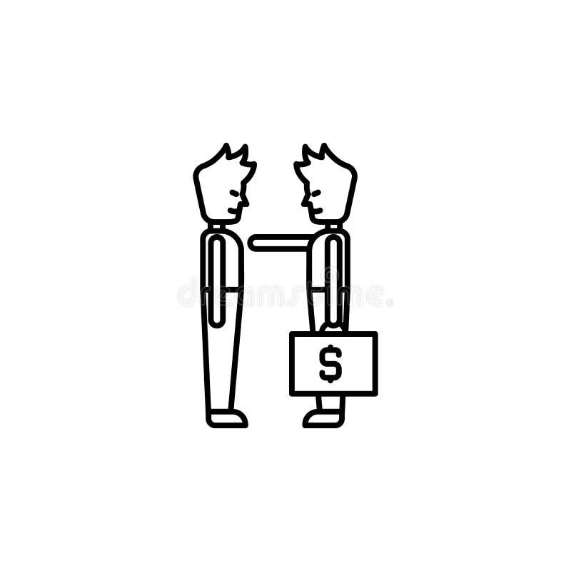 Steekpenning, geld, contractpictogram Element van corruptiepictogram Dun lijnpictogram voor websiteontwerp en ontwikkeling, app o stock illustratie