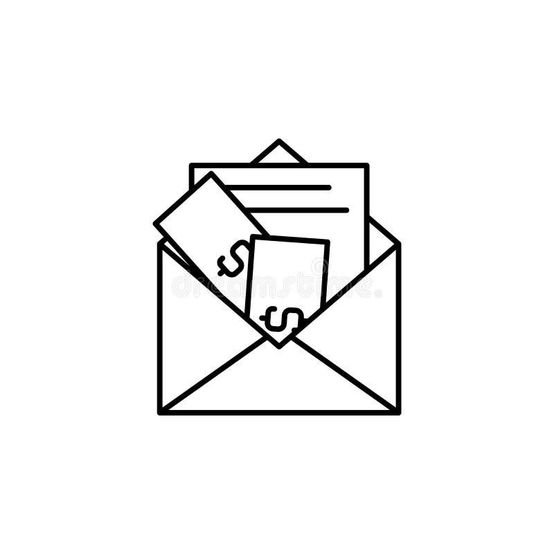 Steekpenning, geld, enveloppictogram Element van corruptiepictogram Dun lijnpictogram voor websiteontwerp en ontwikkeling, app on royalty-vrije illustratie