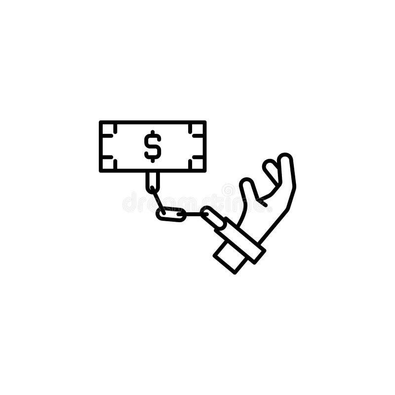 Steekpenning, geld, handpictogram Element van corruptiepictogram Dun lijnpictogram voor websiteontwerp en ontwikkeling, app ontwi stock illustratie