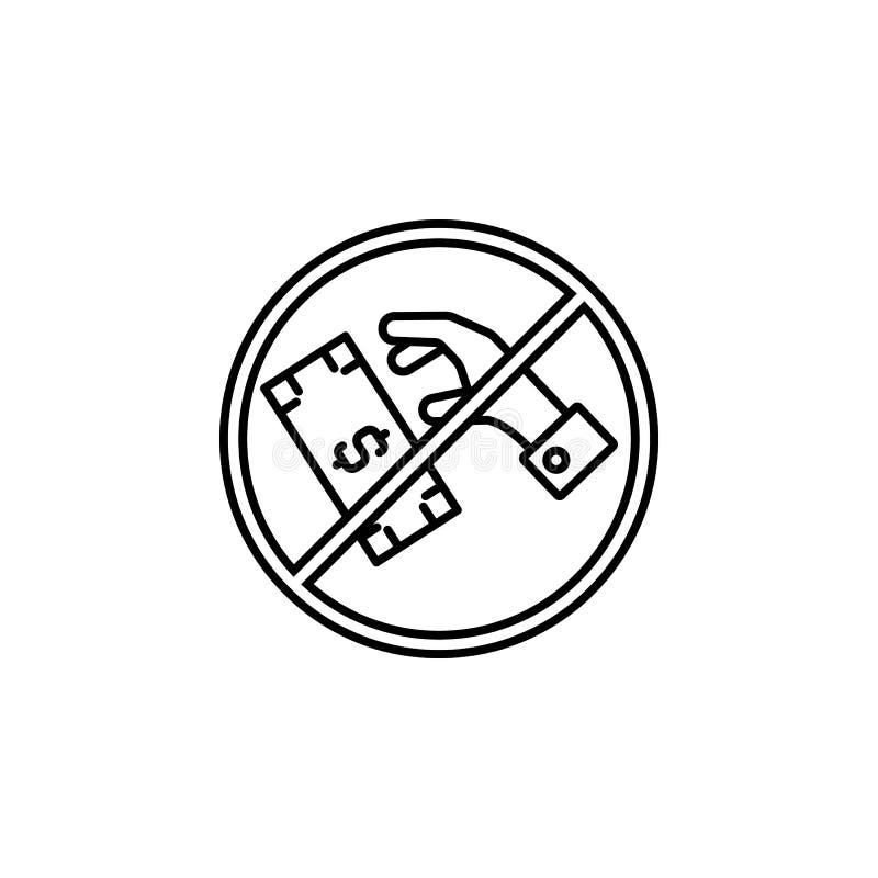Steekpenning, geld, handpictogram Element van corruptiepictogram Dun lijnpictogram voor websiteontwerp en ontwikkeling, app ontwi vector illustratie