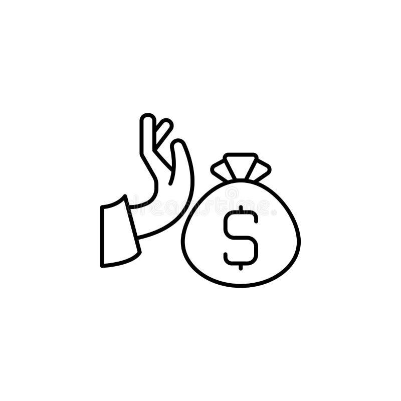 Steekpenning, hand, geldpictogram Element van corruptiepictogram Dun lijnpictogram voor websiteontwerp en ontwikkeling, app ontwi royalty-vrije illustratie