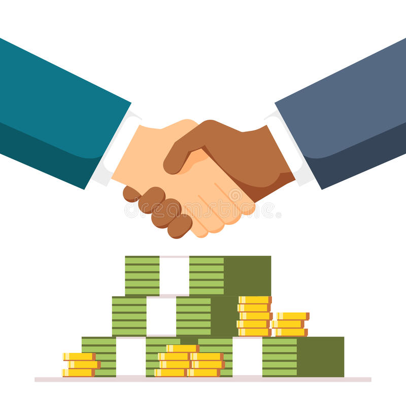 steekpenning Handdruk op geldachtergrond De twee mensen gingen in een overeenkomst binnen De partners schudden handen met elkaar  royalty-vrije illustratie
