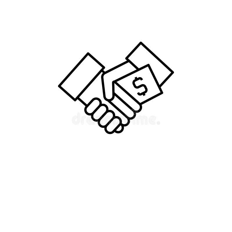 Steekpenning, het pictogram van de handschok Element van corruptiepictogram Dun lijnpictogram voor websiteontwerp en ontwikkeling stock illustratie