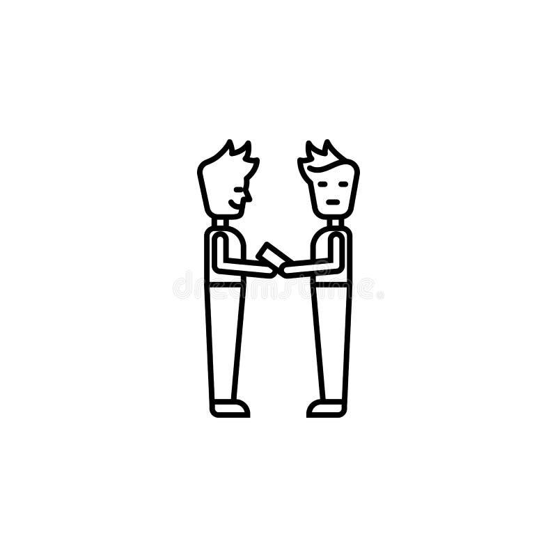 Steekpenning, mens, geld, contractpictogram Element van corruptiepictogram Dun lijnpictogram voor websiteontwerp en ontwikkeling, vector illustratie