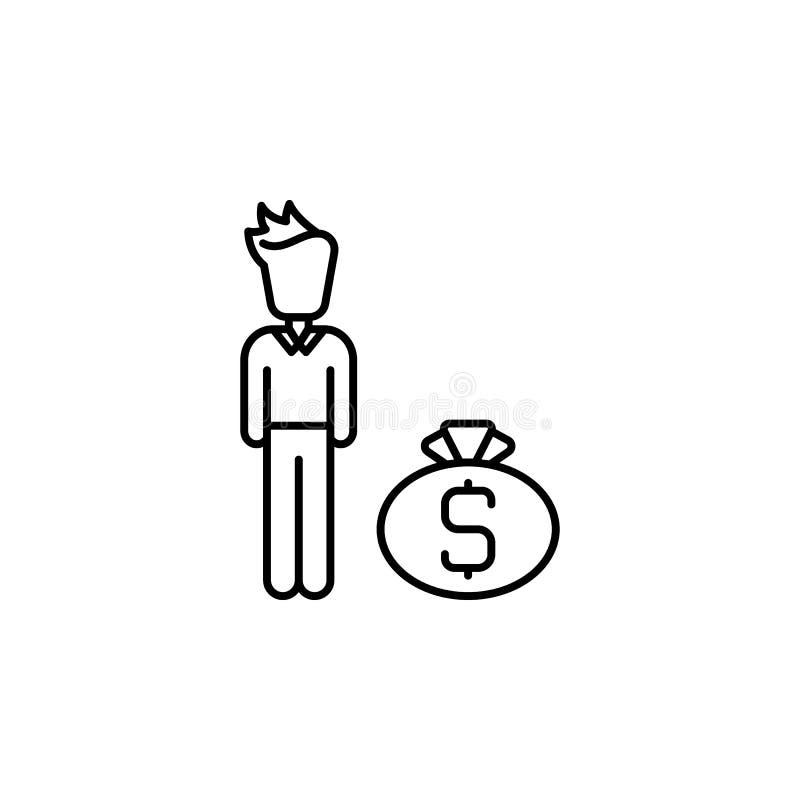 Steekpenning, mens, geldpictogram Element van corruptiepictogram Dun lijnpictogram voor websiteontwerp en ontwikkeling, app ontwi vector illustratie
