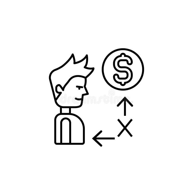 Steekpenning, mens, geldpictogram Element van corruptiepictogram Dun lijnpictogram voor websiteontwerp en ontwikkeling, app ontwi royalty-vrije illustratie