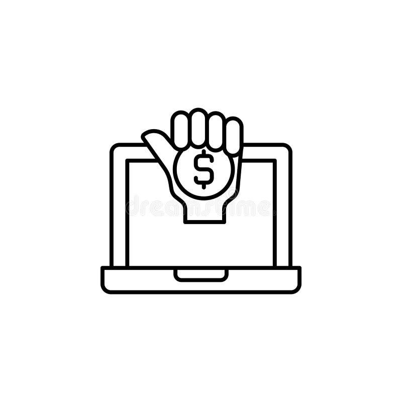 Steekpenning, notitieboekje, handpictogram Element van corruptiepictogram Dun lijnpictogram voor websiteontwerp en ontwikkeling,  stock illustratie