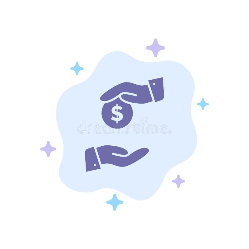 Steekpenning, Omkoperij, Bureaucratie, Corrupt Blauw Pictogram op Abstracte Wolkenachtergrond royalty-vrije illustratie