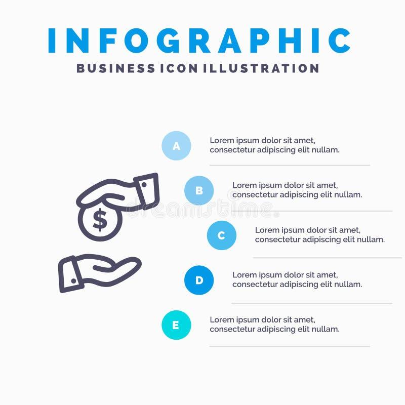 Steekpenning, Omkoperij, Bureaucratie, Corrupt Lijnpictogram met infographicsachtergrond van de 5 stappenpresentatie vector illustratie